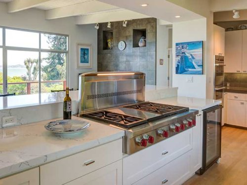 Bright and airy kitchen, Tiburon. Designed by Michelle Slade. View 1